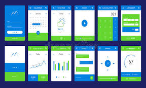 ui layout ui ux and gui template layout for mobile apps stock vector
