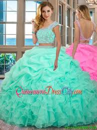 mint quinceanera dresses scoop organza ruffled and beaded cap sleeves backless mint two