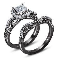 black gold wedding sets black princess cut diamond engagement ring wedding set