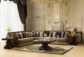 luxurious victorian style living room design with white leather