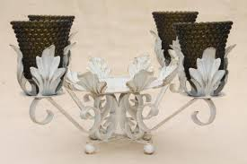 shabby chic vintage tole centerpiece w glass candle holders