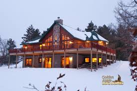 golden eagle log and timber homes log home cabin pictures winter exterior rear view 2