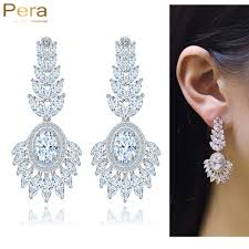 heavy diamond earrings pera sparkling cubic zirconia setting luxury big sun flower bridal