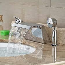 senlesen deck mounted chrome brass square waterfall bathroom tub