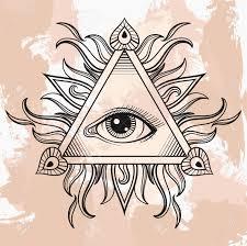vector all seeing eye pyramid symbol illumination vintage