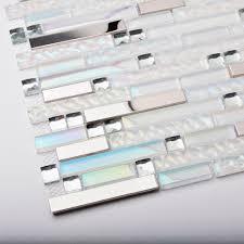home decor glass tiles white interlocking striped diamond white