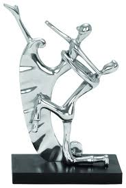art deco dancing couple silver chrome finish statue accent home
