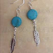 feather earrings s 18 jewelry bohemian turquoise feather earrings from
