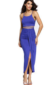 blue spaghetti straps ruched 2pc maxi dress party dresses women