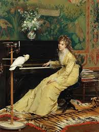 woman at the piano with a atoo gustave leonard de jonghe oil painting