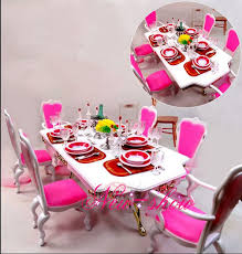 Dollhouse Dining Room Furniture Pink White Dining Table Set Dollhouse Dining Room Furniture