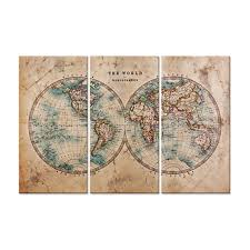 hemispheres home decor canvas print wall art vintage world map in two hemispheres the