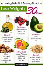 belly fat burning foods list to lose weight in 30 days