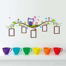 Stickers For Wall Decoration Diy Cartoon Owls On The Branches Photo Frame Wall Stickers Living