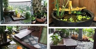 miniteich balkon miniteich balkon boden bauen idee japanisch stil bambus brunnen