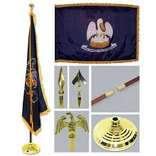 Pa Flag Louisiana 3ft X 5ft Flag Flagpole Base And Tassel