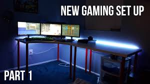 best gaming desk for 3 monitors new gaming setup room tour pc ps4 3 monitors leds etc part 1