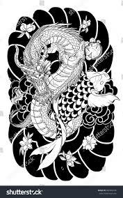 hand drawn dragon koi fish flower stock vector 682565734