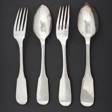 Flatware Sets by Two Silver Flatware Sets Plain Flat Pattern 18th Century