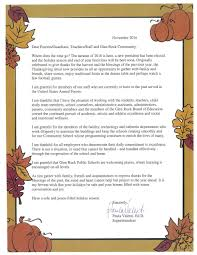 sample thanksgiving message to employees glen rock public schools
