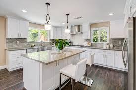 contemporary kitchen with u shaped u0026 kitchen island in pasadena