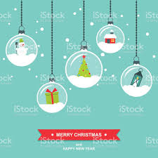 snowglobes decorations flat design christmas card stock vector art