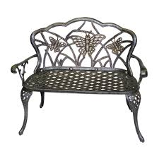 Oakland Living Mississippi Cast Aluminum Flowerhouse Butterfly Patio Bench Fhbfb06 The Home Depot