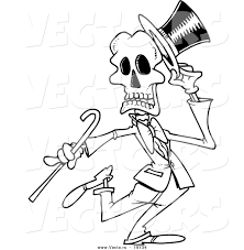 halloween dance clip art vector of a cartoon dancing skeleton outlined coloring page by