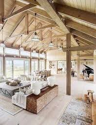 pole barn homes interior barn house vaulted ceilings living room a barn house on