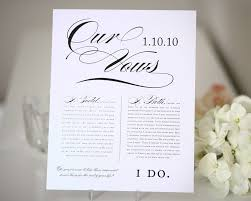 wedding vow cards wedding vows print wedding gift anniversary gift table