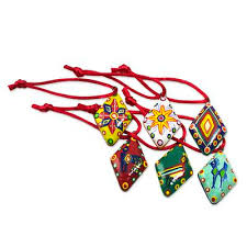 handmade ceramic ornaments set of 6 festive