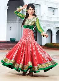 2 beautiful red green anarkali dress suitanarkali in