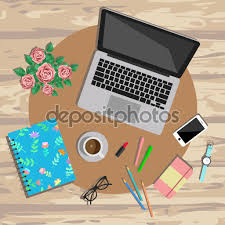 woman working desk top view working place vector illustration