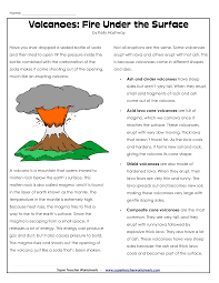 Reading Comprehension 3rd Grade Worksheets Free Parts Of A Volcano Printable Volcano Worksheets Places To