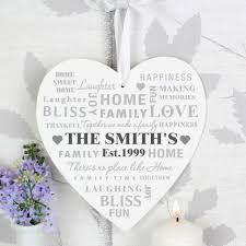 heart decorations home personalised family typography large wooden heart decoration
