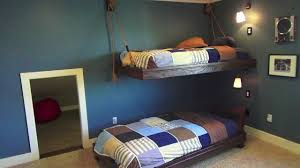 Hanging Nautical Bunk Beds Boys Bedroom Theme Ideas YouTube - Suspended bunk beds