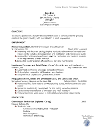 Sample Resume Objectives For Landscaping by Horticulture Resume Resume For Your Job Application