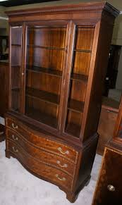 Beveled Glass China Cabinet Mahogany Serpentine Front Fancher Furniture Banded Inlaid China