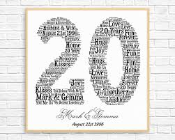 20 year wedding anniversary gifts personalized 20th anniversary gift word printable