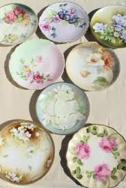 mismatched plates wedding vintage painted china painted porcelain plates