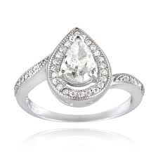 shaped engagement ring icz stonez sterling silver cubic zirconia pear shaped engagement