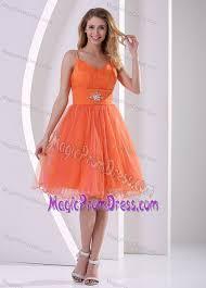 spaghetti straps knee length orange tulle prom dress for girls