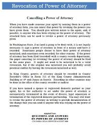Form Of Power Of Attorney download washington revocation power of attorney form wikidownload