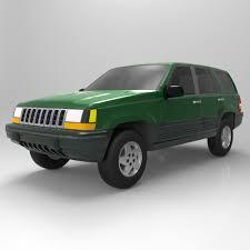 green jeep grand cherokee jeep grand cherokee 94 3d cgtrader