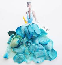 real petals drawing wearing dresses made of real flower petals