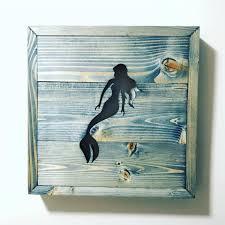 custom 13x13 framed wood mermaid cutout handmade home decor