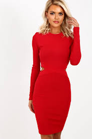 strike it red bandage effect long sleeve mini dress pink