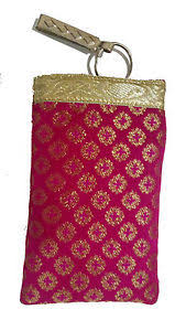 hot pink colour mobile pouch hot pink colour with detachable key ring and saree