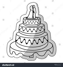 wedding cake outline wedding cake outline stock vector 607842314