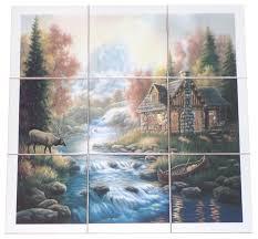 Elk Cabin Kiln Fired Ceramic Tile Mural Backsplash Woods Stream - Backsplash mural